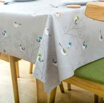 LEEVAN Heavy Weight Vinyl Rectangle Table Cover Wipe Clean PVC Tablecloth Oil-Proof/Waterproof Stain-Resistant-54X78 Inch - 137X200 cm(Small Bird)