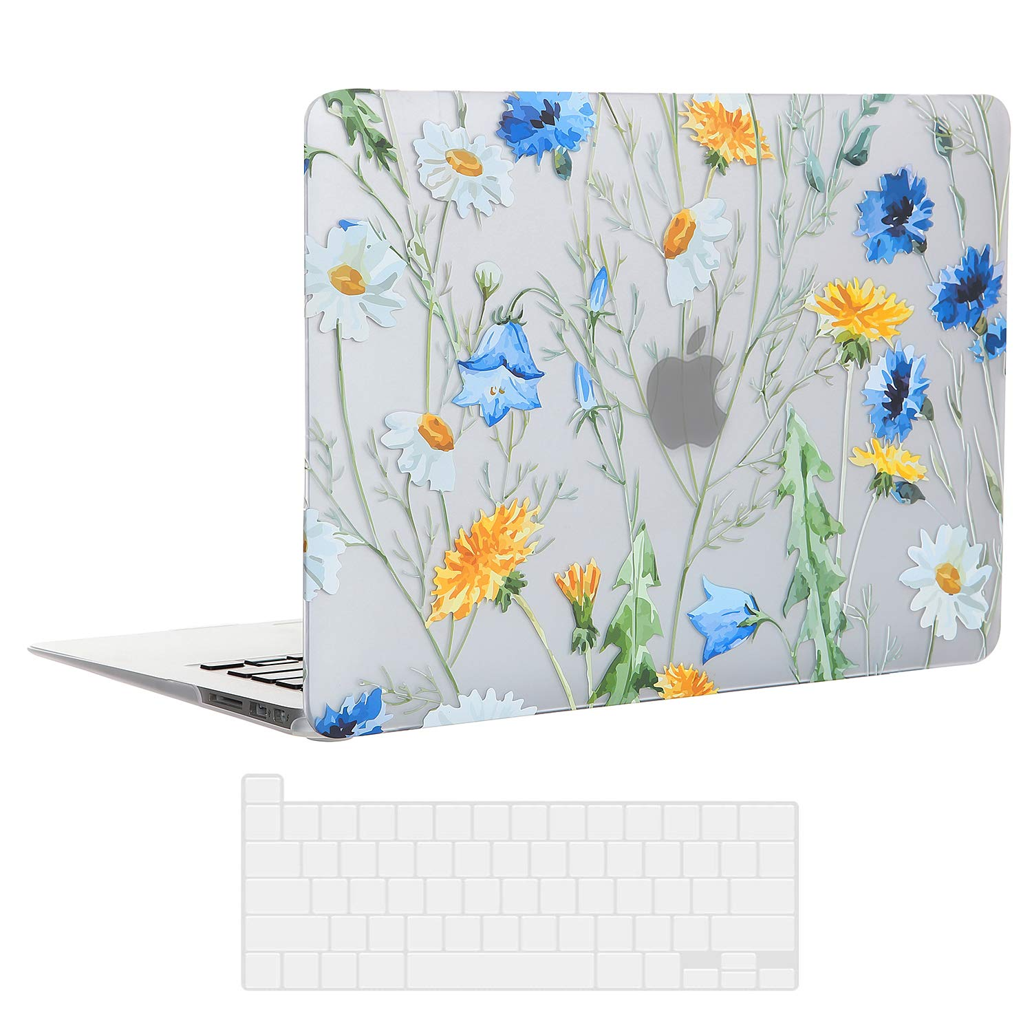 EkuaBot Floral Daisy MacBook Pro 13 inch Case & Transparent Keyboard Cover (A1425/A1502, 2012-2015 Release), Rubber Coated Hard Case Only Compatible MacBook Pro 13.3 with Retina Display (NO CD-ROM)