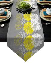 FAMILYDECOR Linen Burlap Table Runner Dresser Scarves, Yellow White Dahlia Flower with Grey Background Kitchen Table Runners for Dinner Holiday Parties, Wedding, Events, Decor - 13 x 70 Inch