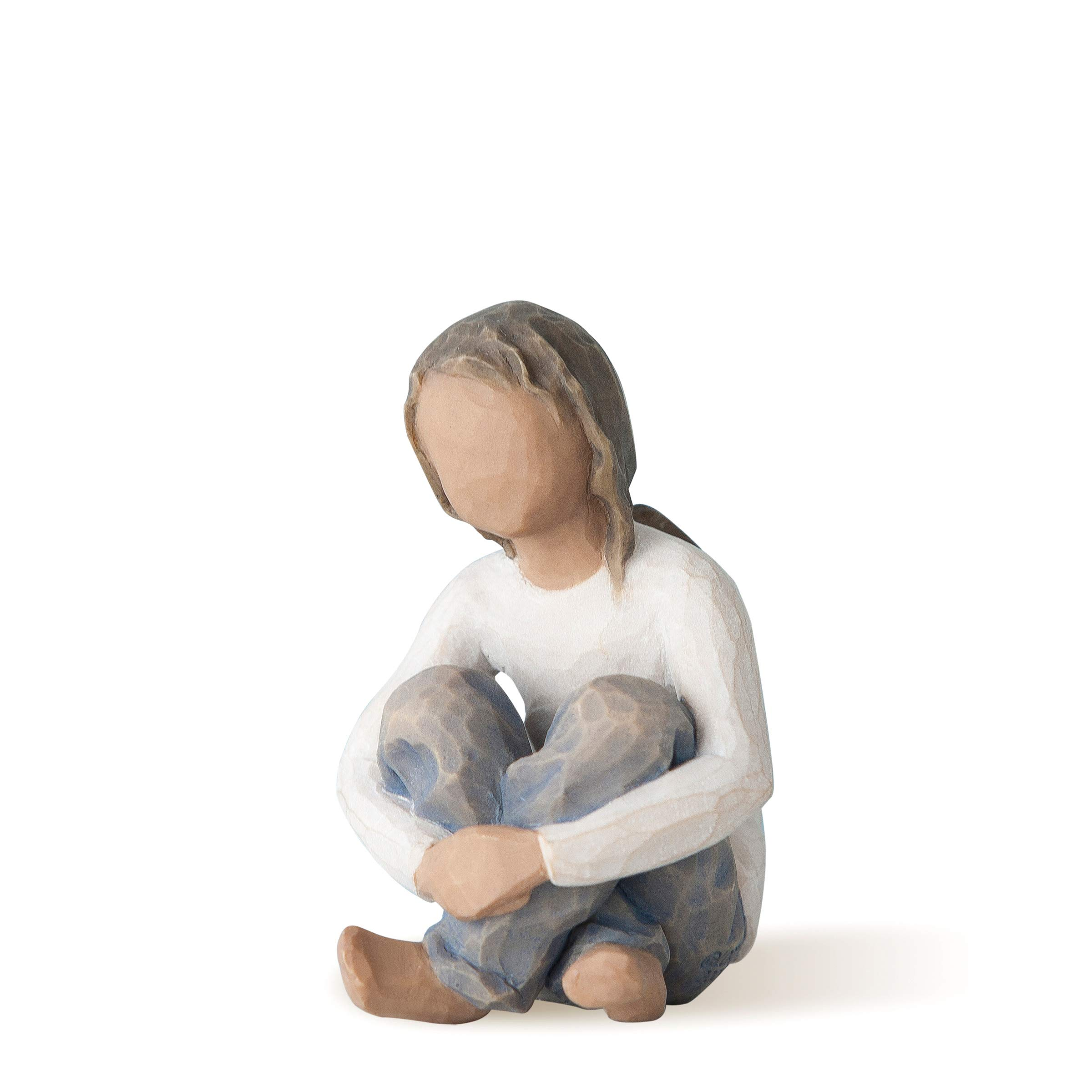 Willow Tree Spirited Child (Darker Skin Tone & Hair Color), Sculpted Hand-Painted Figure