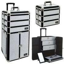 Sunrise I3366 Professional 4-in-1 Rolling Makeup Artist Cosmetic Train Case Organizer Storage, Krystal White