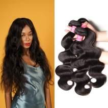 Klaiyi 10A Brazilian Virgin Body Wave Hair 3 Bundles Unprocessed Human Hair Weave Extensions Natural Color 95-100g/pc (8 10 12inch)