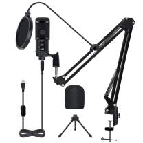 Professional USB Microphone for Computer with Stand,BOLWEO USB Condenser Microphone PC Mic Boom Arm, Laptop Desktop Podcast Microphone Kit for Singing YouTube Video Studio Recording Streaming Gaming