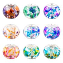 PH PandaHall 100pcs 10 Colors Spray Painted Glass European Beads with Silver Brass Cores 15x12mm Large Hole Beads for European Charm Bracelet for Jewelry Making, Hole: 5mm