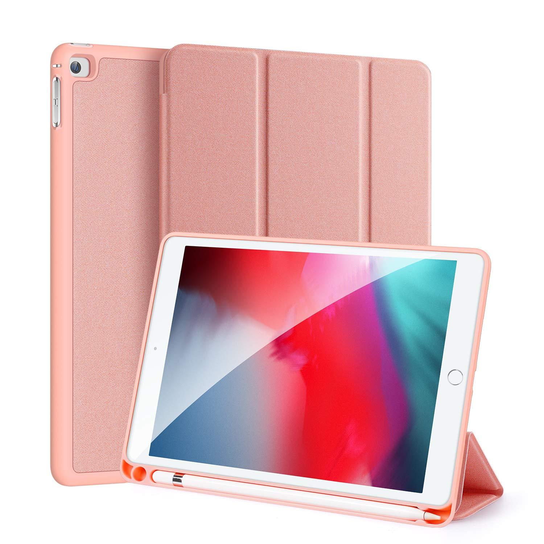 iPad Mini 5 2019 / iPad Mini 4 Smart Case with Pencil Holder, DUX DUCIS Soft TPU Back and Magnetic Trifold Stand Cover with Auto Sleep/Wake for iPad Mini 5th Gen 7.9 inch 2019 / iPad Mini 4 (Pink)