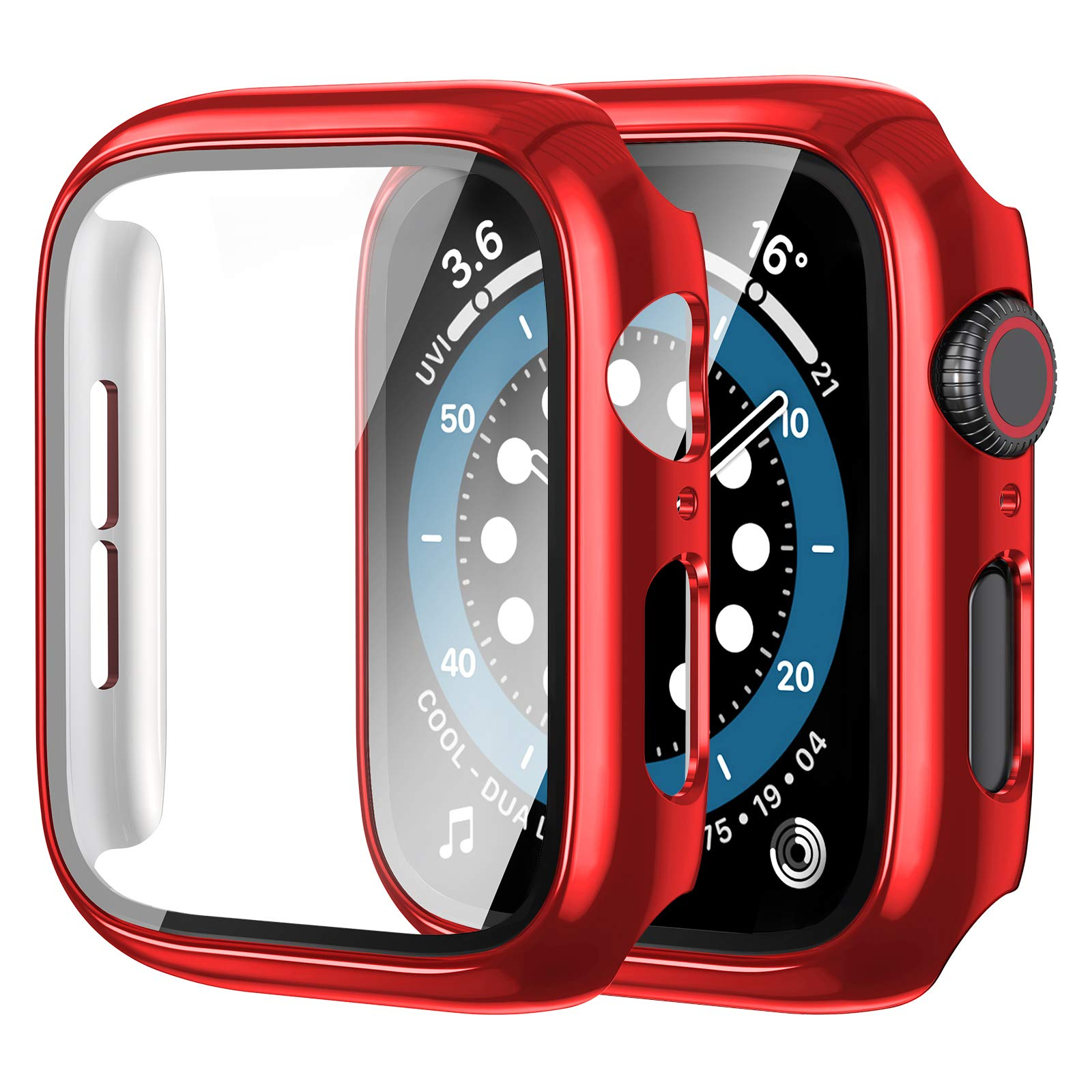 [2 Pack] Anwaut Case with Screen Protector for Apple Watch Series 3/2/1 42mm,Full Defense Coverage with Tempered Glass Cover Accessories for iWatch 42mm Women Men Red