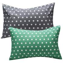 UOMNY Kids Toddler Pillowcases 2 Pack 100% Cotton Pillow Cover Pillowslip Case Fits Pillows sizesd 13 x 18 or 12x 16 for Kids Bedding Pillow Cover Baby Pillow Cases Point Kids' PillowcasesGrey/Green
