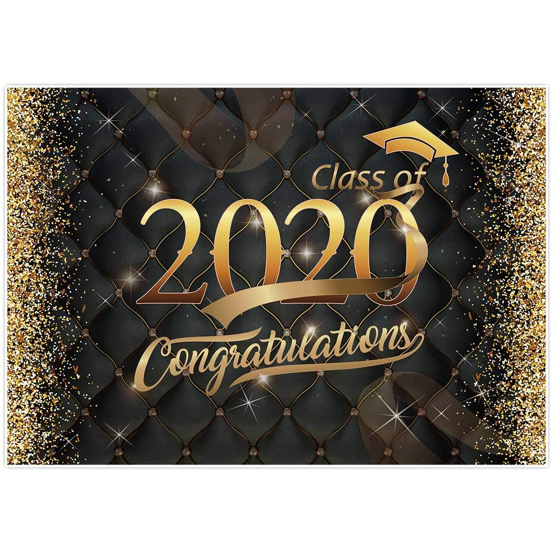 Allenjoy 7x5ft Graduation Party Backdrop Class of 2020 Bachelor Cap Ribbon Gold Glitter Photography Background Grad Celebration Decorations Photo Booth Props Cake Table Banner