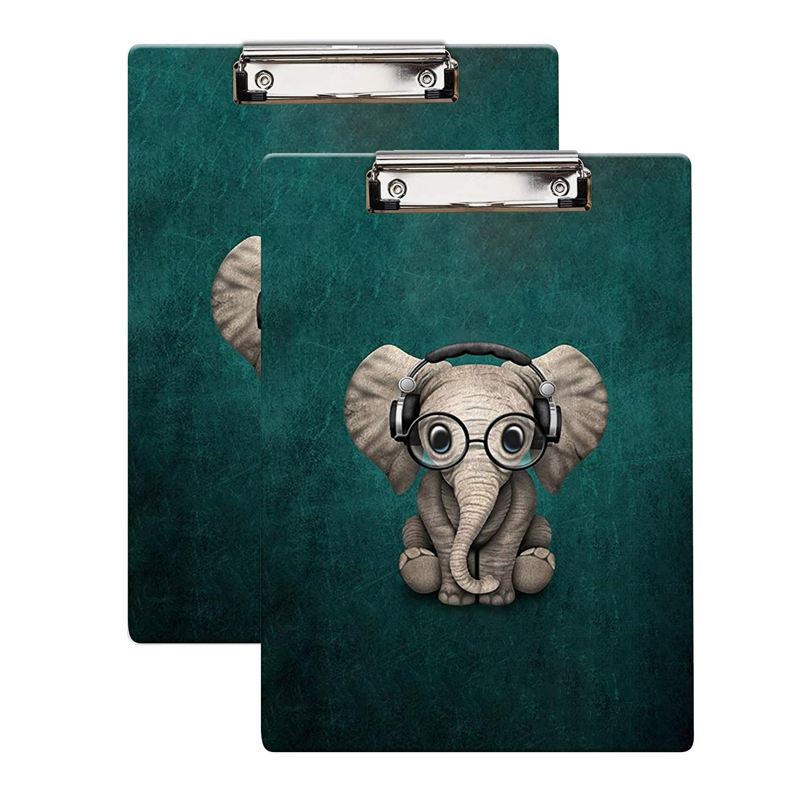 "Britimes Clipboard, 2-Pack, Decorative Office School Hardboard Wood Nursing Clip Board and Pull for Standard A4 Letter Size Cute Elephant 12.5"" X 8.5"""