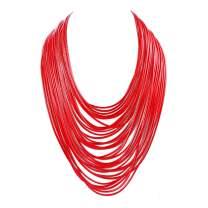 Yuhuan Necklace Women Fashion Bib Choker 36 Layers Wax Line Collar Statement Jewelry