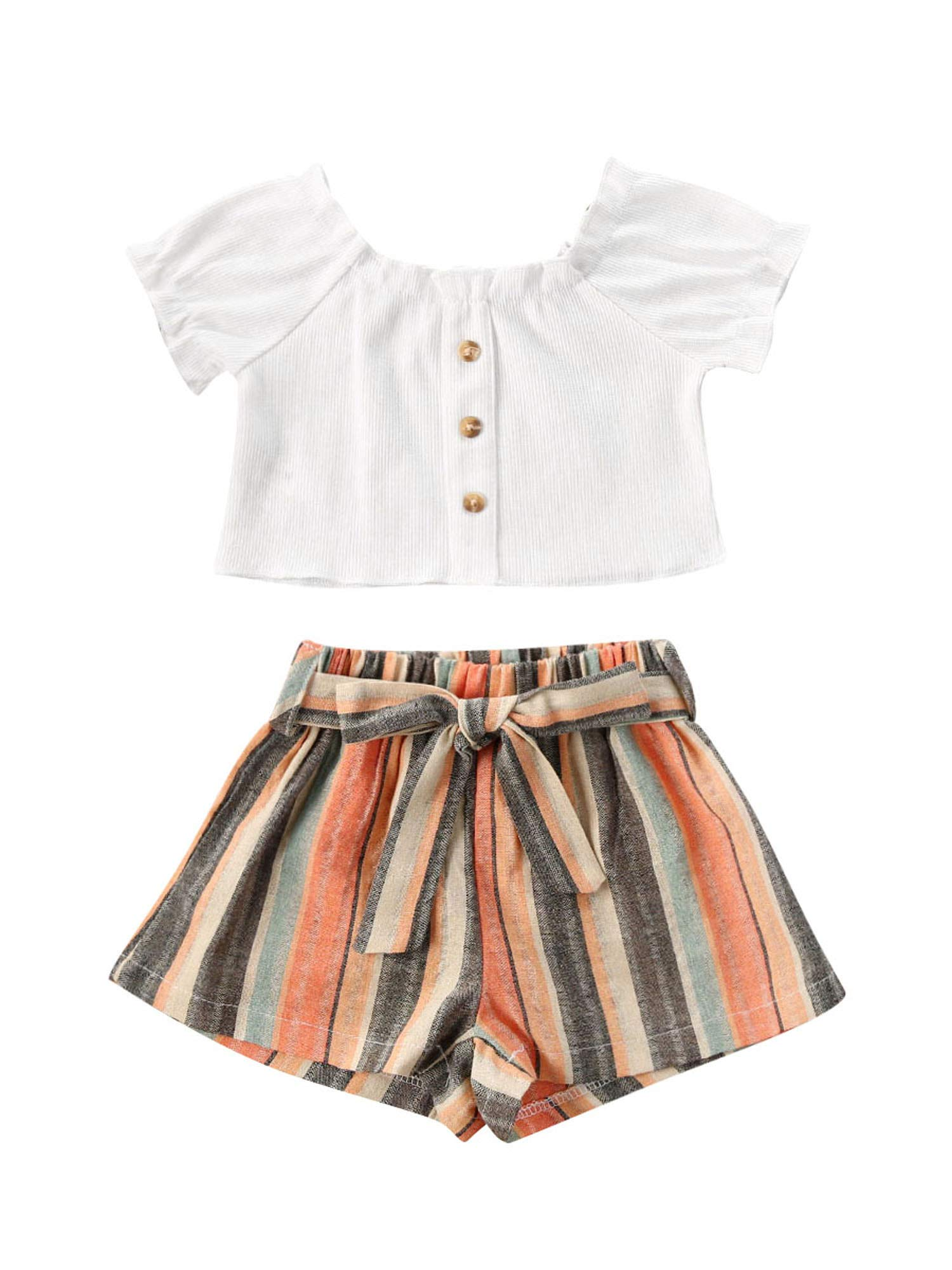 2Pcs/Set Toddler Kids Baby Girl Summer Short Sleeve T-Shirt Tops + Floral Short Sets Outfits Clothes