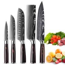 KEPEAK Kitchen Knife Set 5 piece, Chef Knife Santoku Cleaver Paring Knives High Carbon Steel, Pakkawood Handle for Vegetable Meat Fruit