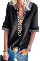 Chase Secret Womens Casual V Neck Shirt Boho Print Short Sleeve Tops Loose Blouse (S-XXL) …