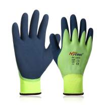 Waterproof Work Gloves 15 Gauge Hycool Grip Men's Working Gloves Double Coated Nylon Gloves with Comfortable Latex Foam for Multipurpose Use 1 Pair(Size XL,Color Green)