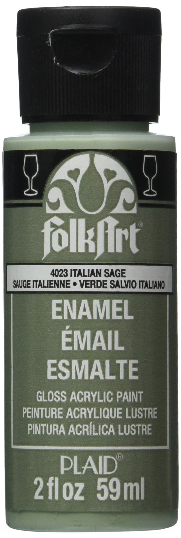 FolkArt Enamel Glass & Ceramic Paint in Assorted Colors (2 oz), 4023, Italian Sage