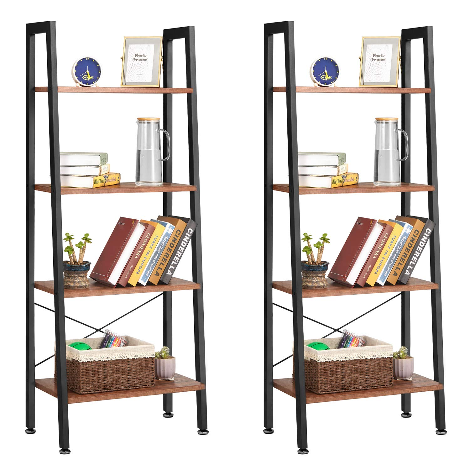 Industrial Ladder Shelf Set of 2, Kealive 4 Tiers Bookshelf Wood Storage Rack Shelf with Metal Frame, Plant Flower Stand with Anti-toppling Foot for Living Room, 23.6L 13.8W 59H, Rustic