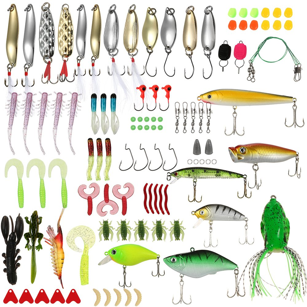 Lixada Fishing Baits Lures Tackle Set 106pcs Fishing Lure Box with Spoons, VIB, Popper, Minnow, Crankbaits, Frog, Spinnerbaits, Hooks, Jigs, Topwater Lures, Plastic Worms Fishing Lures Kit