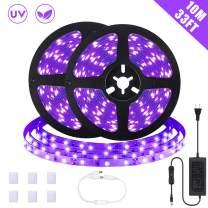 SOLMORE Black Light Strip, 33ft/10m UV Blacklight LED Strip, 600 Units UV Lamp Beads, 12V Flexible Black Lights Purple Light for Indoor Dance Party Stage Paint Bedroom Christmas
