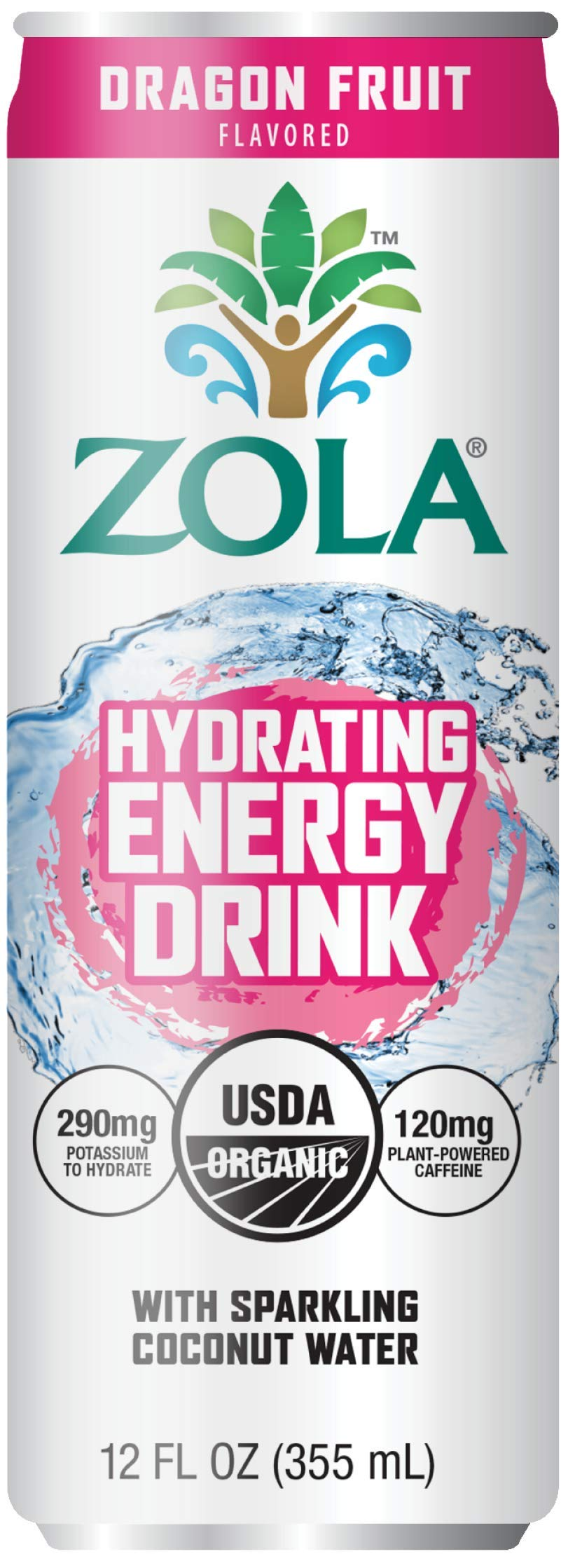 Zola Organic Hydrating Energy Drink, Dragon Fruit, 12 Ounce (Pack of 12)