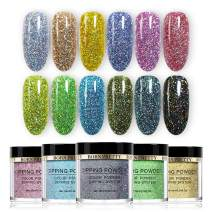BORN PRETTY Without Lamp Cure holographic dipping nail powder Natural Dry Nail Art Decoration manicuring 12PCS