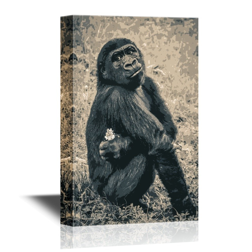 wall26 - Canvas Wall Art - Chimpanzee with Little White Flower on Grunge Background - Gallery Wrap Modern Home Decor | Ready to Hang - 24x36 inches