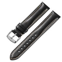 iStrap 18mm 19mm 20mm 21mm 22mm 24mm Genuine Calfskin Leather Watch Band Padded Replacement Strap Steel Pin Buckle Super Soft Bracelet for Men Women