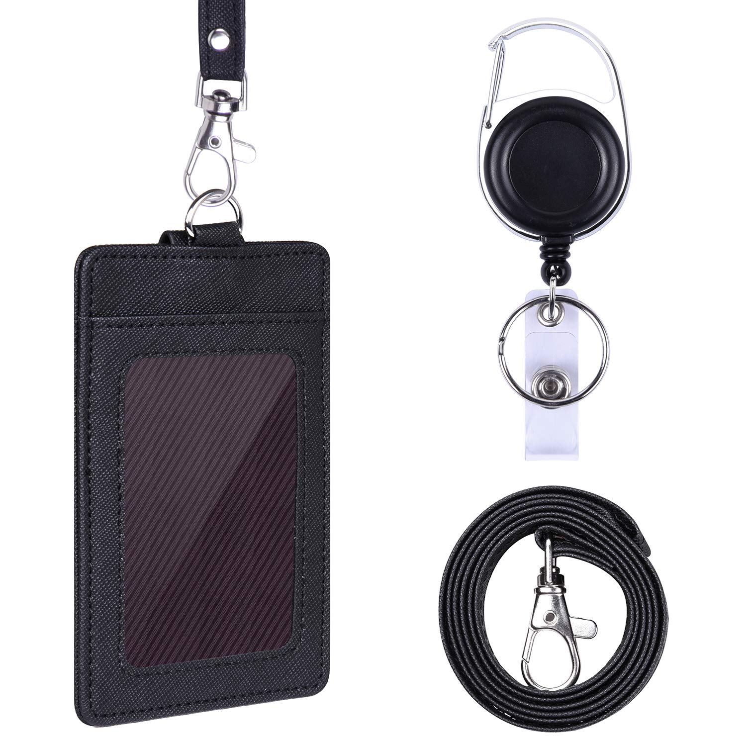 Wisdompro Badge Holder, 2-Sided PU Leather ID Badge Card Holder with 1 Clear ID Window and 2 Card Slots, 18.8 inch Neck Lanyard Strap and Carabiner Retractable Reel Clip - Black (Vertical)