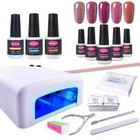 CLAVUZ Gel Nail Polish Kit with UV Light 15PCS Soak Off Nail Polish Starter Kit Base and Top Coat Nail Art Manicure Pedicure Gift Tools Set
