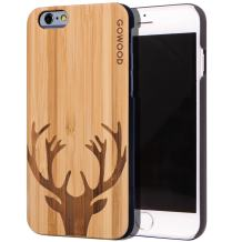 GOWOOD Wood Case for iPhone 6 / 6S | Real Natural Bamboo Wooden Backplate with Unique Deer Design and Shock Absorbing Polycarbonate Protective Bumper