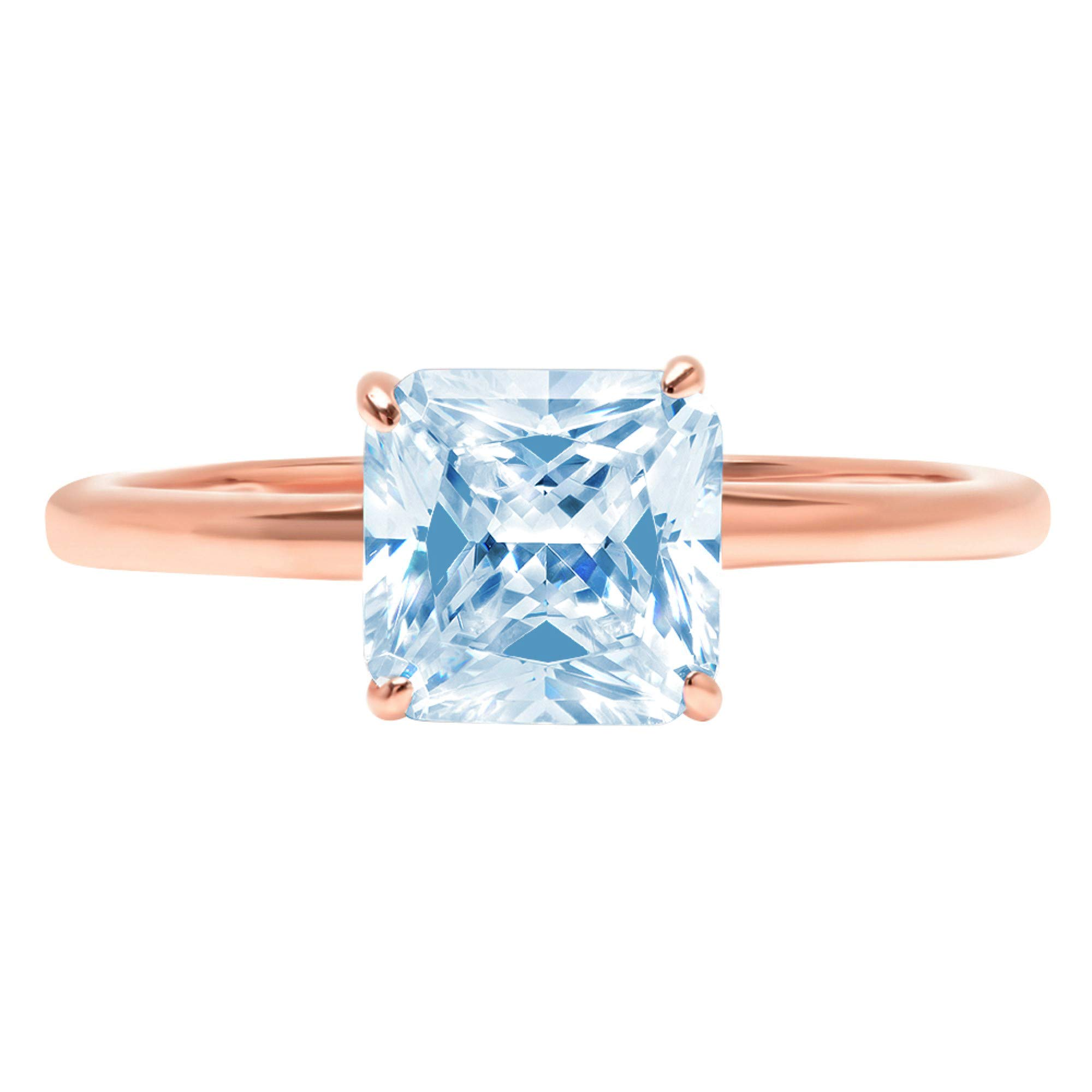 0.95ct Brilliant Asscher Cut Solitaire Aquamarine Blue Simulated Diamond CZ Ideal VVS1 D 4-Prong Classic Designer Statement Ring Solid Real 14k Rose Gold for Women