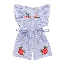 Toddler Baby Girls Blue Striped Ruffle Sleeveless Embroidered Rose Bow Elastic Waist Romper Jumpsuit Sets