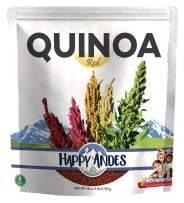 Happy Andes Red Quinoa 3 lbs - Non Gluten, Whole Grain Rice Substitute - Ready to Cook Food for Oats and Seeds Recipes - Healthy Meal with Vitamins and Protein - Best Value