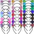 SIQUK 26 Pieces Cat Ears Headband Sequin Ears Headbands Reversible Shiny Hairband for Women and Girls, 26 Colors
