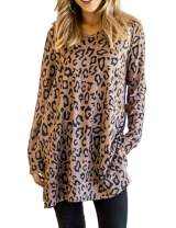 Maysoar Womens Tunic Tops Leopard Print Shirt Long Sleeve V Neck Blouse