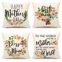 4TH Emotion Mothers Day Pillow Covers 18x18 Set of 4 Spring Floral Farmhouse Decor Holiday Decorations Throw Cushion Case for Home Couch(Best Mom Ever, Blessed Mom, Happy Mothers Day, Mother World)