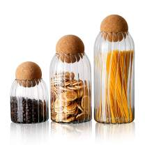 FOVERN1 Glass Jar with Airtight Seal Wood Lid Ball, Canister Sets for Kitchen Counter, Glass Storage Jars for Tea Coffee Spice Sugar Salt (Size S/M/L) …