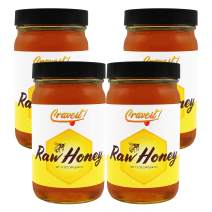 Crave It - Raw & Unfiltered Honey - No Artificial Flavors or Colors, Not Pasturized, and All Natural. 12 oz Glass Jar(4 Pack)