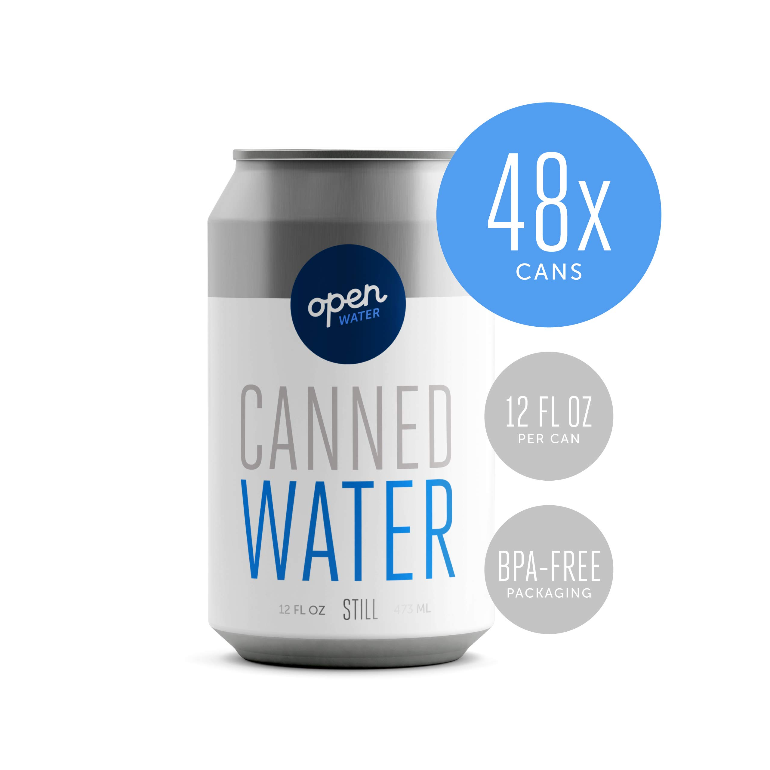 Open Water - Still Canned Drinking Water in 12-ounce Aluminum Cans (4 Cases, 48 cans - Still) | BPA-free and Eco friendly