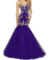 SDRESS Women's Beaded Sequines Gold Appliques Lace-up Mermaid Formal Prom Dress