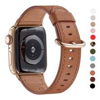 WFEAGL Compatible iWatch Band 44mm 42mm, Top Grain Leather Band with Gold Adapter (The Same as Series 5/4 with Gold Stainless Steel Case in Color) for iWatch Series 5/4/3/2/1(Brown Band+Gold Adapter)