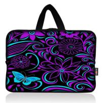 AUPET Purple Flowers Universal 7~8 inch Tablet Portable Neoprene Zipper Carrying Sleeve Case Bag
