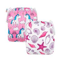 ALVABABY 2 PCS One Size Reuseable Washable Infants Swim Diapers Adjustable & Stylish Fits for Babies 0-2 Years Old