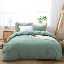 LOVQUE 100% Washed Cotton Duvet Cover Queen Size, Sage Green Soft and Fade-Resistant Natural Bedding Set (No Comforter), 90x90 Inches