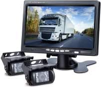 DVKNM Upgrade Dual Backup Camera Monitor Kit,1280X720P HD,IP69 Waterproof Rearview Reversing Rear View Camera 7'' LCD Reversing Monitor Truck/Semi-Trailer/Box Truck/RV — HD Transmission— (TZ102)