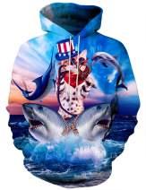 Asylvain Unisex Graphic Hoodies 3D Cool Design Print Colorful Hooded Sweatshirt for Men and Women