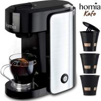 Coffee Maker Machine Single Serve - Electric Brewer for Ground Coffee, K-cup Сompatible, 10 oz (300 ml), 1000W, 3.5 bar Pump, with Reusable Capsules and Automatic Shut-Off, Stainless Steel + Black