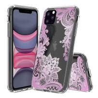 """HUIYCUU Compatible with iPhone 11 Pro MAX Case 6.5"""", Shockproof Anti-Slip Cute Clear Design Pattern Funny Slim Fit Soft Bumper Girl Women Cover Case for iPhone 11Pro Max/XI Max, Lace Flower Purple"""