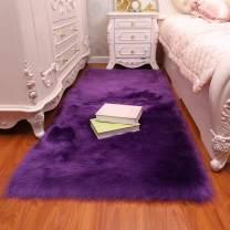 Luxury Fluffy Rugs Faux Fur Sheepskin Area Rug Wool Carpet Baby Nursery Childrens Rug 4x6ft,Purple