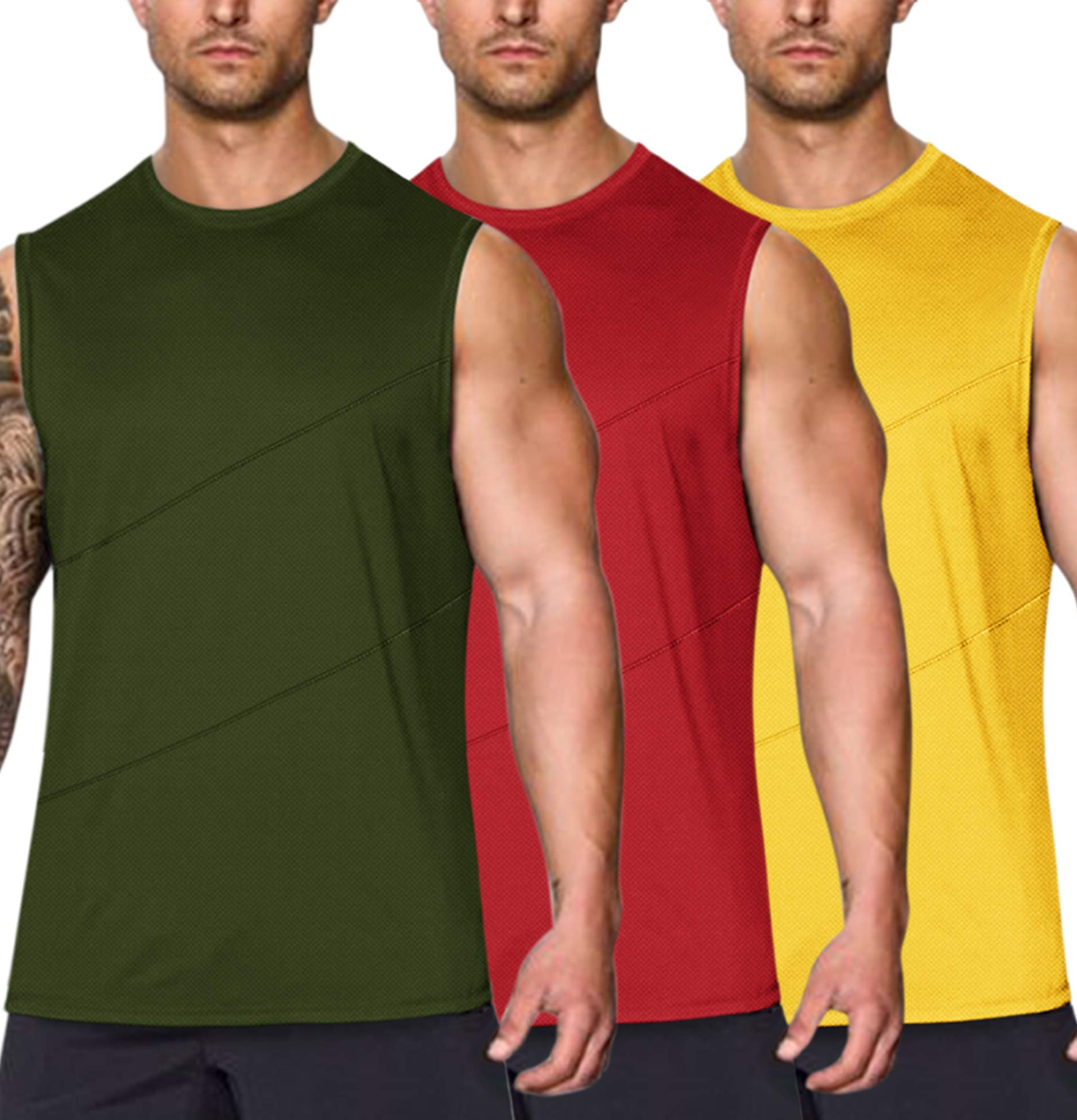 COOFANDY Men's 3 Pack Dry Fit Y-Back Workout Tank Tops Athletic Mesh Sleeveless Gym Shirts Muscle Fitness Shirts