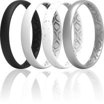 ThunderFit Women Breathable Air Grooves Silicone Wedding Ring Wedding Bands 3mm Width - 1.5mm Thickness - 12 Rings / 8 Rings / 4 Rings / 1 Ring